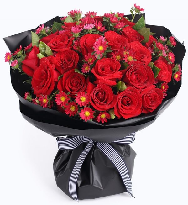 33 Stems Red Rose & 7 Stems Red Chrysanthusmum with Leaves