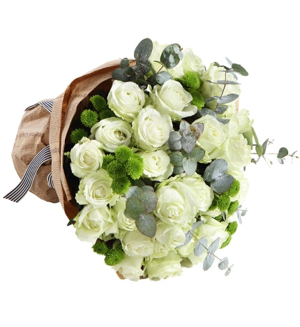 33 Stems White Rose & 10 Stems Green Chrysanthemum with Leaves