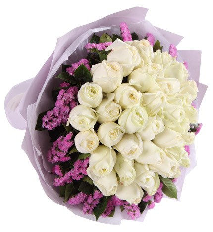 33 Stems White Rose with Light Purple Statice
