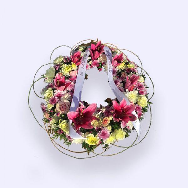 40cm (小) 黄色、粉红色和白色花圈