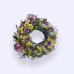 40cm (小) 黄色、粉红色和绿色花圈