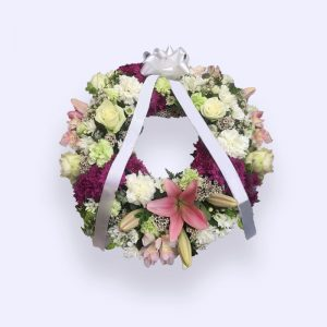 40cm (Small) Pink & Yellow-white Flower Wreath