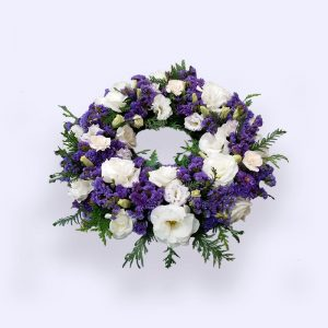 40cm (Small) Purple & White Flower Wreath