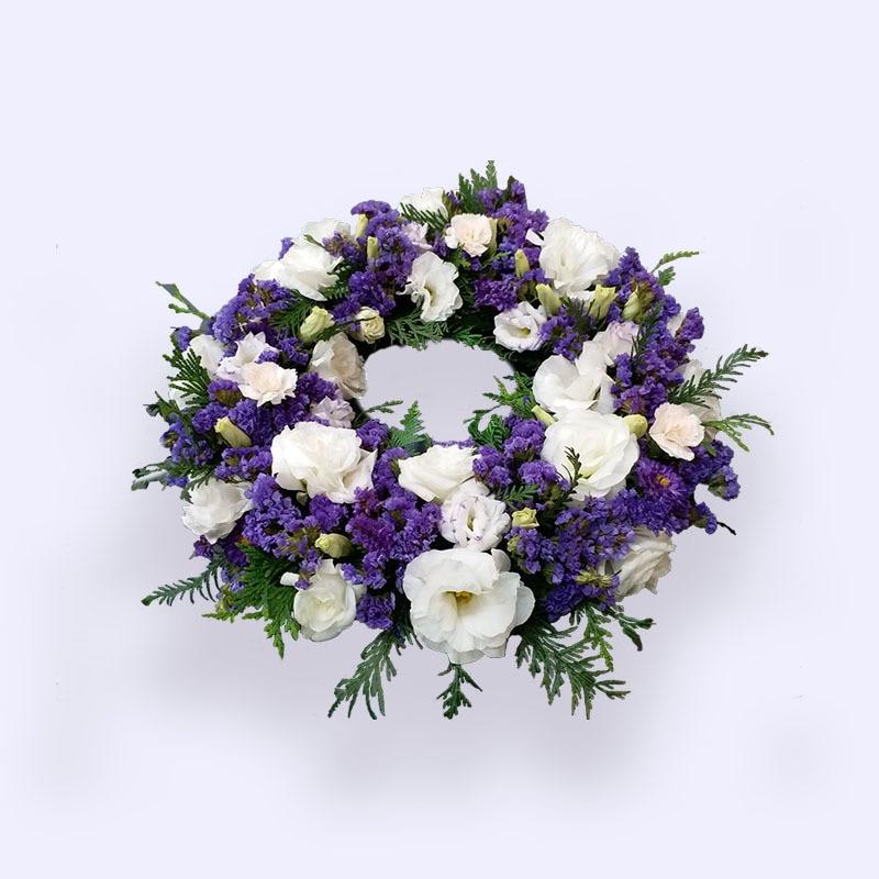 40cm Small Purple White Flower Wreath Angelic Flower