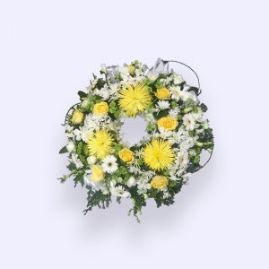 40cm (Small) Yellow & White Flower Wreath
