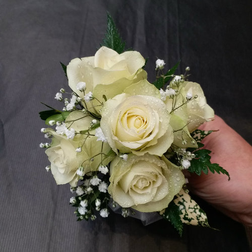 5 White Rose Corsage