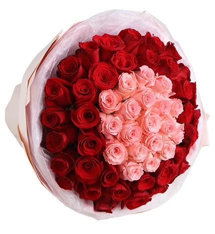 50枝鲜花(19枝粉色玫瑰31枝红玫瑰)/爱在心头