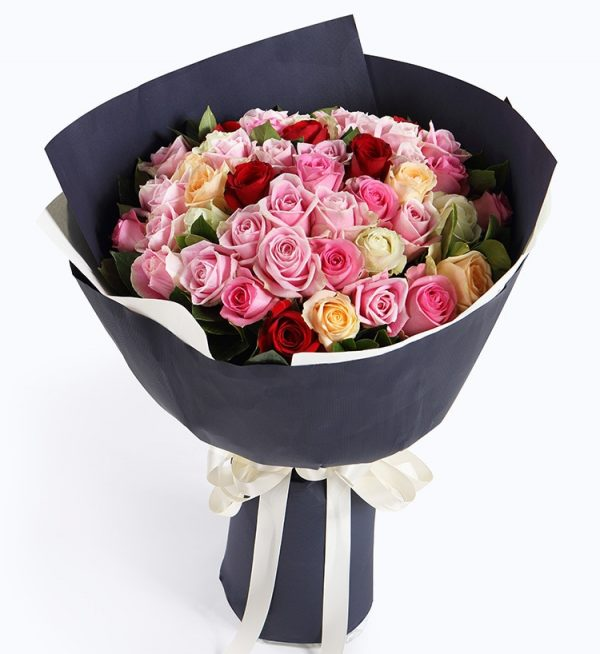 50 Stems (32 Stems Pink Rose & 6 Stems White Rose & 6 Stems Champagne Rose & 6 Stems Red Rose)with Leaves