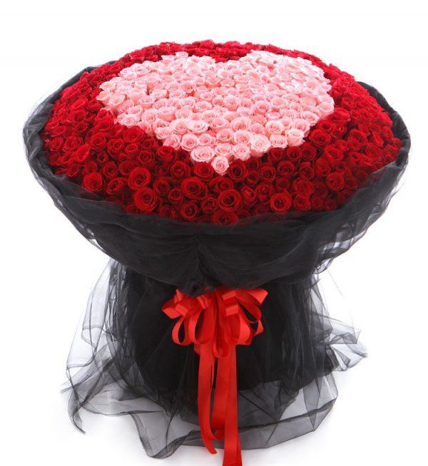 520枝鲜花(321枝红玫瑰199枝粉色玫瑰)/我爱您