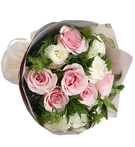 6 Stems Pink Rose & 6 Stems White Rose with Leaves