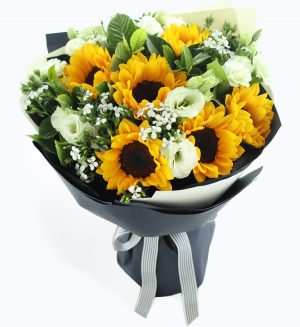 6 Stems Sunflower & 6 Stems Green Lisianthus