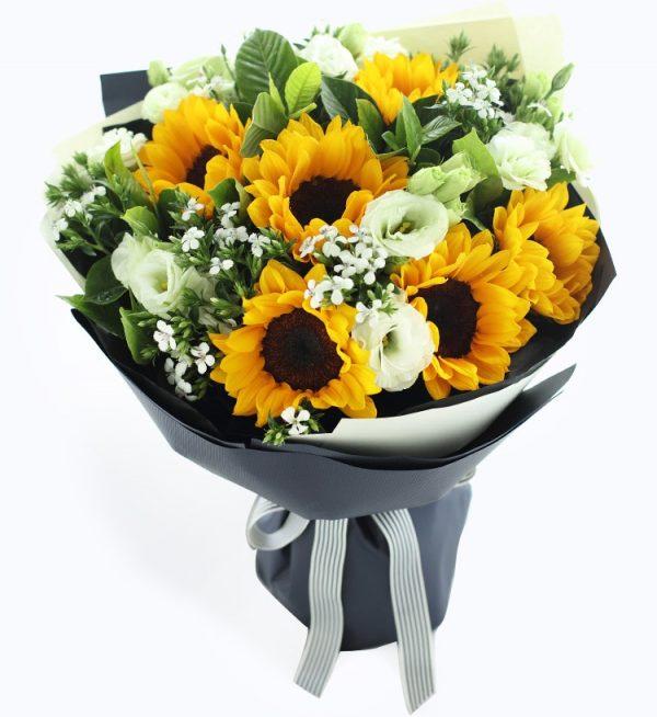 6 Stems Sunflower & 6 Stems Green Lisianthus