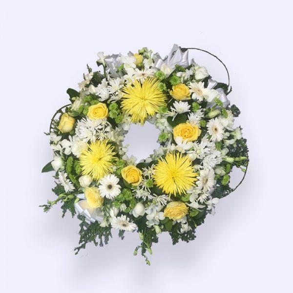 60cm (中) 黄色和白色花圈