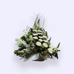 60cm (Medium) Green & White Flower Basket