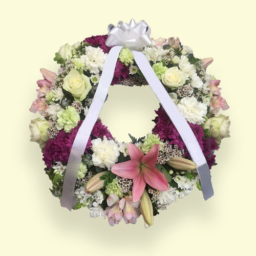 60cm (Medium) Pink & Yellow-white Flower Wreath