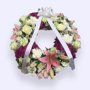60cm (Medium) Pink & Yellow-white Flower Wreath