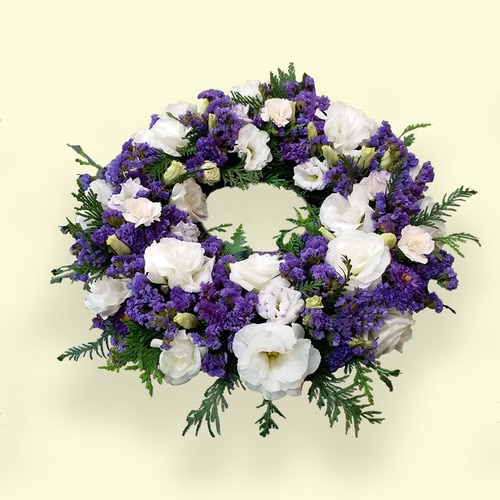 60cm (Medium) Purple & White Flower Wreath
