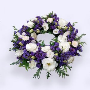 60cm (Medium) Purple & White Flower Wreath