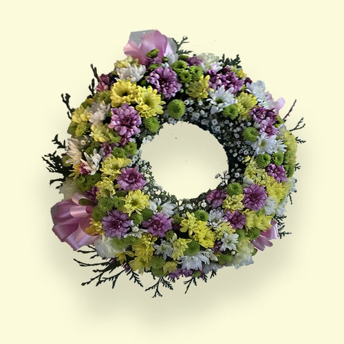 Pink & Green Flower Wreath