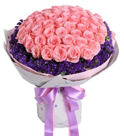66枝粉玫瑰加深紫色勿忘我/不变的心