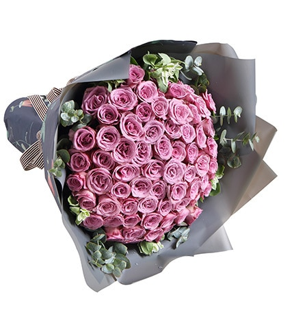 66 Stems Purple Rose with Leaves