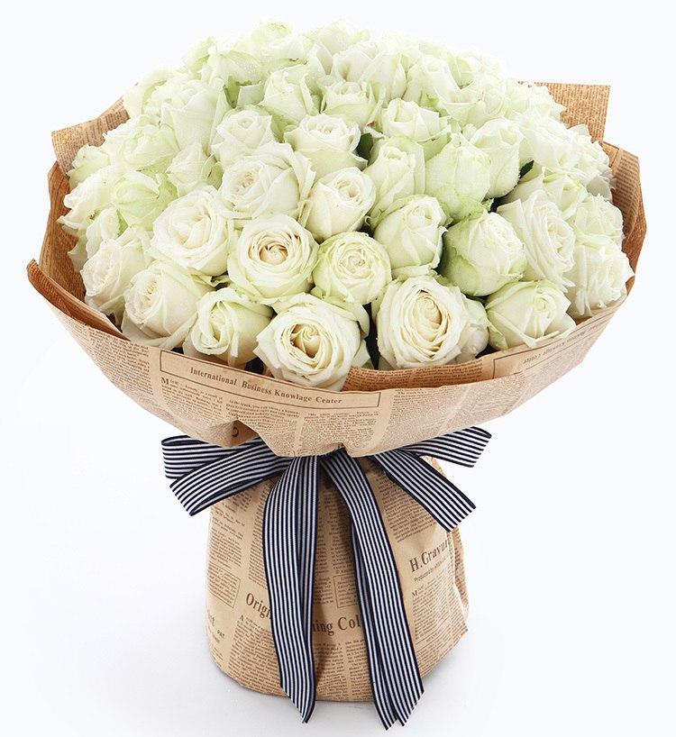 Букет из 35 белых роз, розы