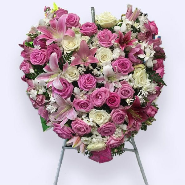 80cm (大) 粉红色心形花圈
