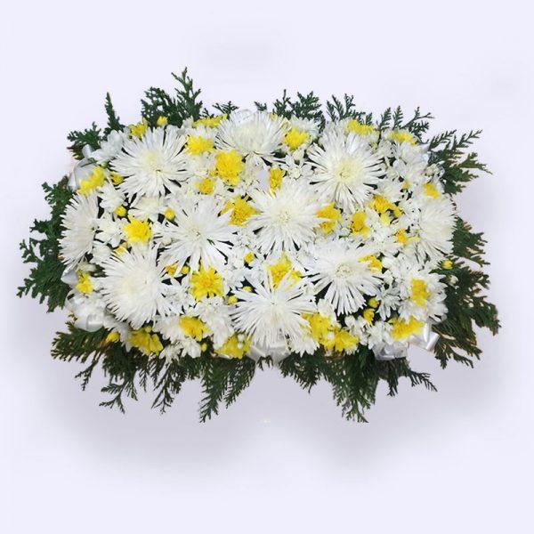 80cm (大) 黄白色平面花圈