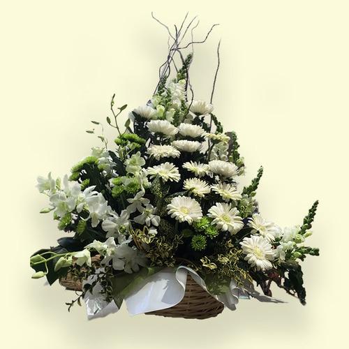 80cm (Large) Green & White Flower Basket