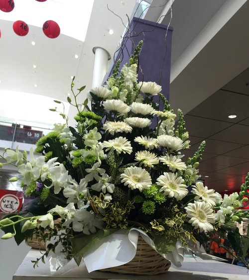 80cm (Large) Green & White Flower Basket