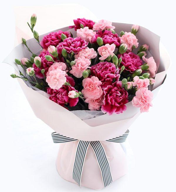 9枝紫色康乃馨和10枝粉红色多头康乃馨/母爱
