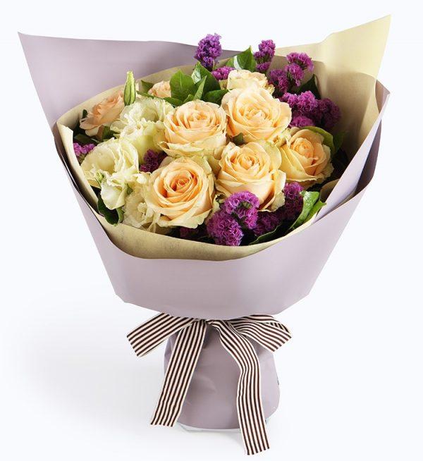 9枝香槟色玫瑰配浅紫色勿忘我/爱如氧气