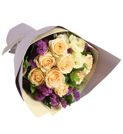 9 Stems Champagne Rose with Light Purple Statice