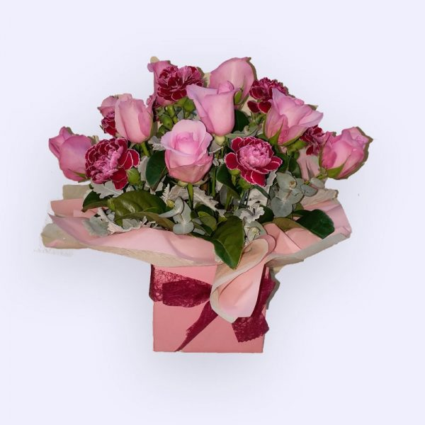 9 Stems Pink Rose & 8 Stems Pink Sim Caration