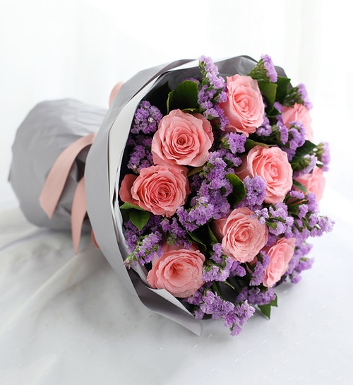 9 Stems Pink Rose with Light Purple Statice