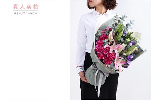 9 Stems Purple Carnation & 2 Stems Pink Oriental Lily & 4 Stems purple Lisianthus