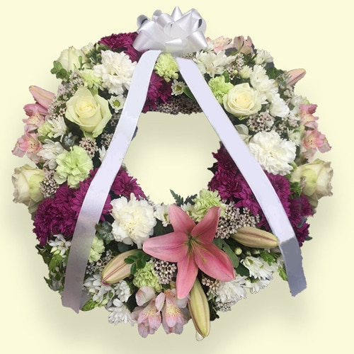 90cm (Large) Pink & Yellow-white Flower Wreath