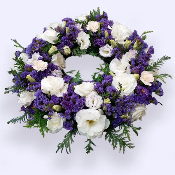 90cm (Large) Purple & White Flower Wreath
