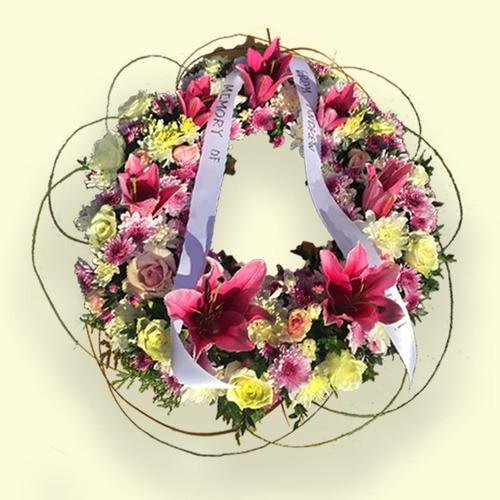 Pink & White Flower Wreath
