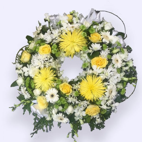 90cm (Large) Yellow & White Flower Wreath