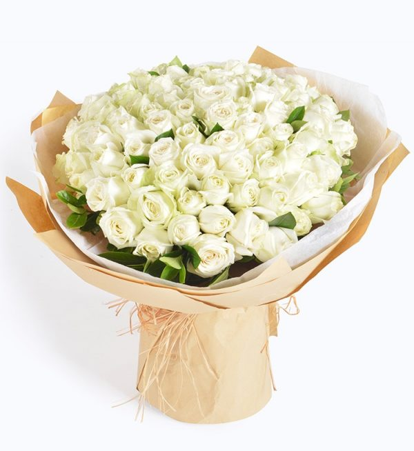 99枝白玫瑰配叶子/初心永不变