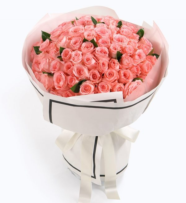 99枝粉玫瑰配叶子/幸福久久