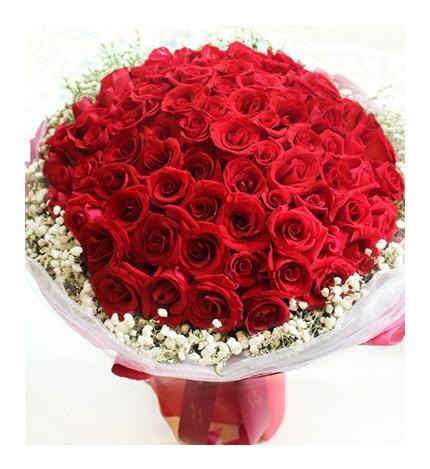 99枝红玫瑰配满天星/爱