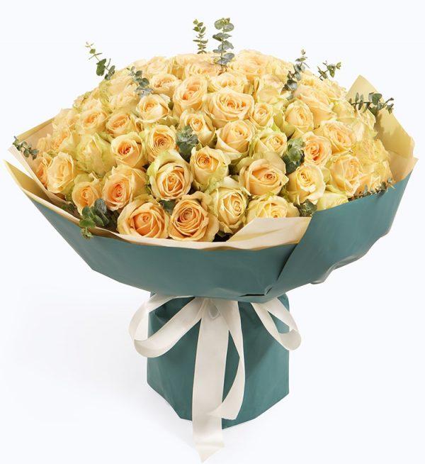 99枝香槟玫瑰配叶子/久久的爱