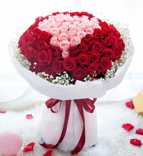 99枝鲜花(33枝粉红玫瑰66枝红玫瑰配满天星)/爱的天空