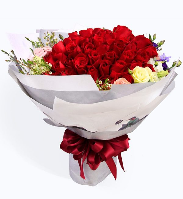 99 Stems Red Rose with Lisianthus & Acacia & Heiwingia