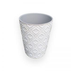 Ceramic flower Pot (White, D=12.8cm, H=14cm)