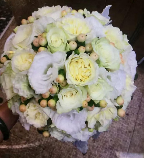Over 10 Stems Rose And About 20 Stems Lisianthus with Berry Wedding Bouquet
