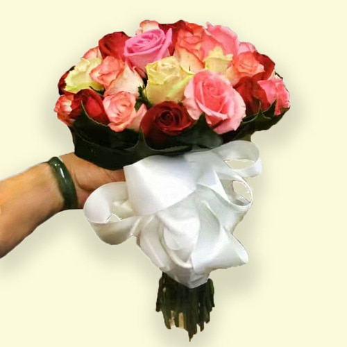 Over 35 Stems Rose Mix Color Wedding Bouquet